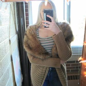 Jennifer Lopez Lux Faux Fur Collared Cardigan